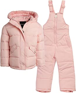 DKNY Baby Girls 2-Piece Snowsuit with Heavy Puffer Jacket and Snow Bib Pants (Infant/Toddler)