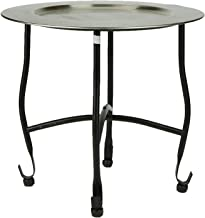 Mind Reader TABTRAY-SIL Modern, Detachable Tray, Elegant Décor, Lightweight Aluminum Moroccan Table, Silver