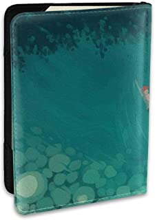 Abstract Design Blue Waves Blocking Print Passport Holder Cover Case Travel Luggage Passport Wallet Card Holder Made With Leather For Men Women Kids Family