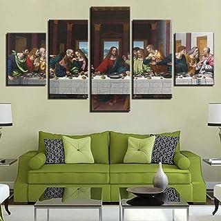 QQYYYT يسوع المسيح قماش اللوحة 5 قطع قماش اللوحة جدار الديكور مجردة صورة هدية الإبداعية ديكور المنزل