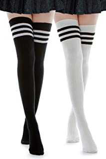 Kayhoma Extra Long Cotton Mid Thigh High Socks Over the Knee High Boot Stockings Cotton Leg Warmers
