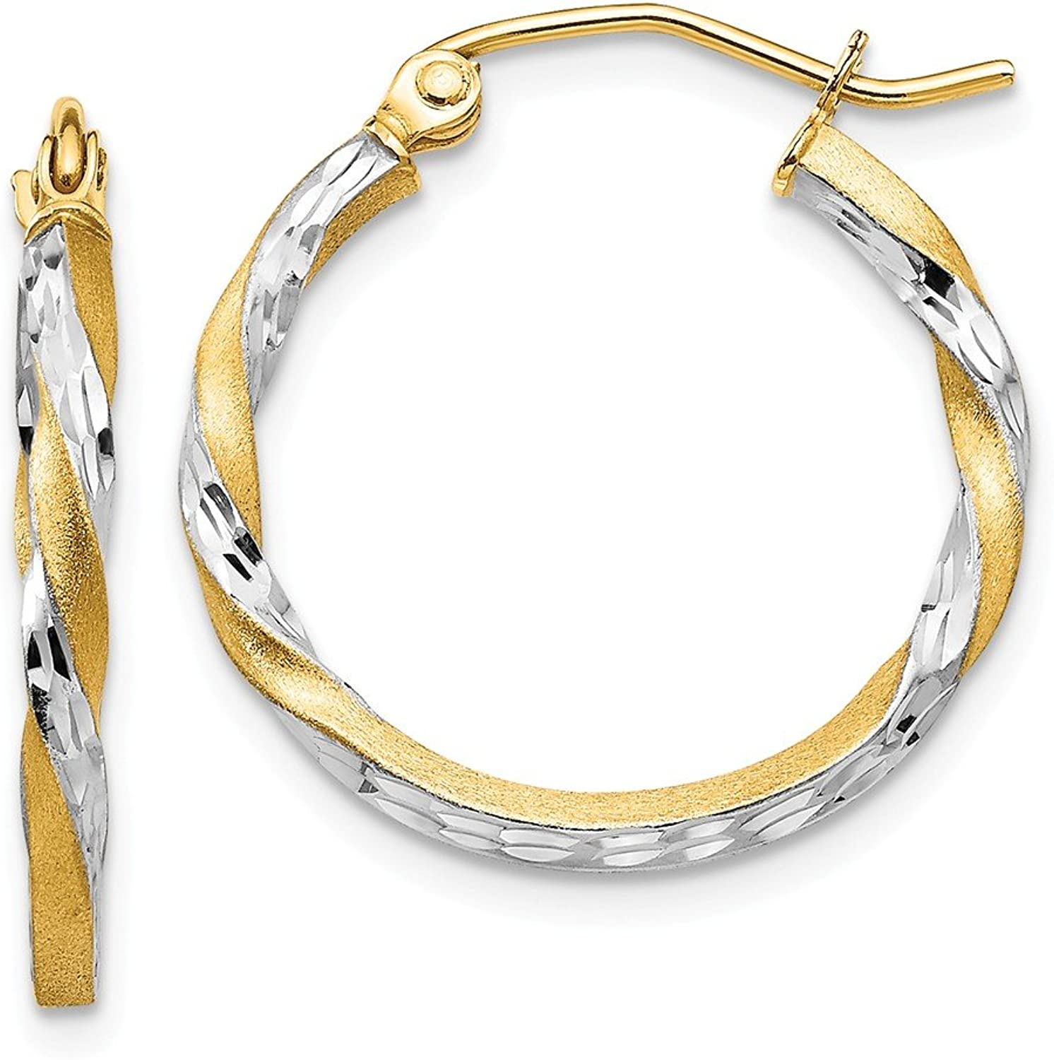 Beautiful rhodium plated gold and silver 14K rhodiumplatedgoldandsilver 14k & Rhodium Satin Diamond Cut Twisted Hoop Earrings