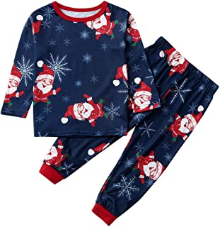 waitFOR Toddler Baby Christmas Santa Claus Elk Print Tops Hat Boys Girls Winter Jumper Tops Trousers Pullover Autumn Pajamas Sleepwear Outfits Suit for 3-24 Months Snowflake Printing Pants