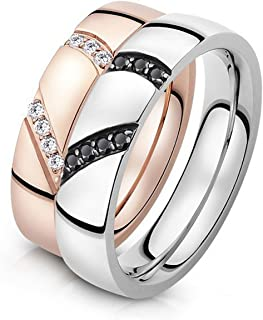 K.L.Y ペアリング 316L ハート型のパズルリング 指輪 結婚 婚約指輪 ジュエリーカップルリング (個別販売可) (レディース7号)