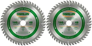 Oshlun SBFT-160048 160mm 48 Tooth FesPro Crosscut ATB Saw Blade with 20mm Arbor for Festool TS 55 EQ, DeWalt DWS520, and Makita SP6000K - 2 Blades (2)