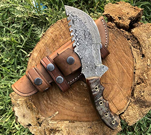 Custom Handmade Damascus Tracker Knife with Sheep Horn Handle Knife Fixed Blade - Hunting Tracker Knife with 100% Pure Cowhide Leather Sheaths Horizontal