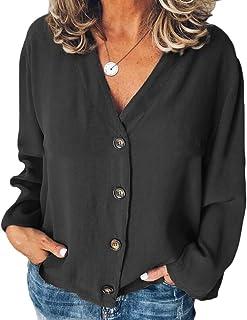 CRYYU Women Button Down Chiffon Long Sleeve Solid Plus Size T-Shirt Top Blouse