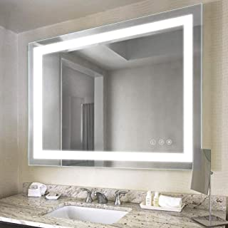 32 x 40 inch Bathroom Vanity Mirror, LED Backlit+Wall Mounted + Defogger & Dimmable Touch Switch + UL Listed + Polished Eadge &Frameless + 5500K Cool White +3000K Warm + CRI>90 + Vertical&Horizontal