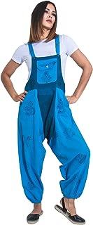 Baggy Harem Dungarees - Turquoise Bib Overalls Boho Jumpsuit
