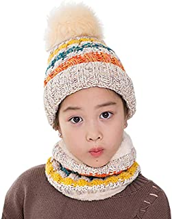 AMAZACER Grils Winter Knitted Pom Pom Beanie Hat and Circle Scarf Set (Color : Beige)