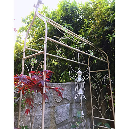 YICOL Gothic Garden Arch (250 x 135cm) Sturdy Metal Arbor with Sharp Ends for Climbing Vines and Plants,Trellis for Climbing Plant Roses Vines Grapevine, Black/Beige