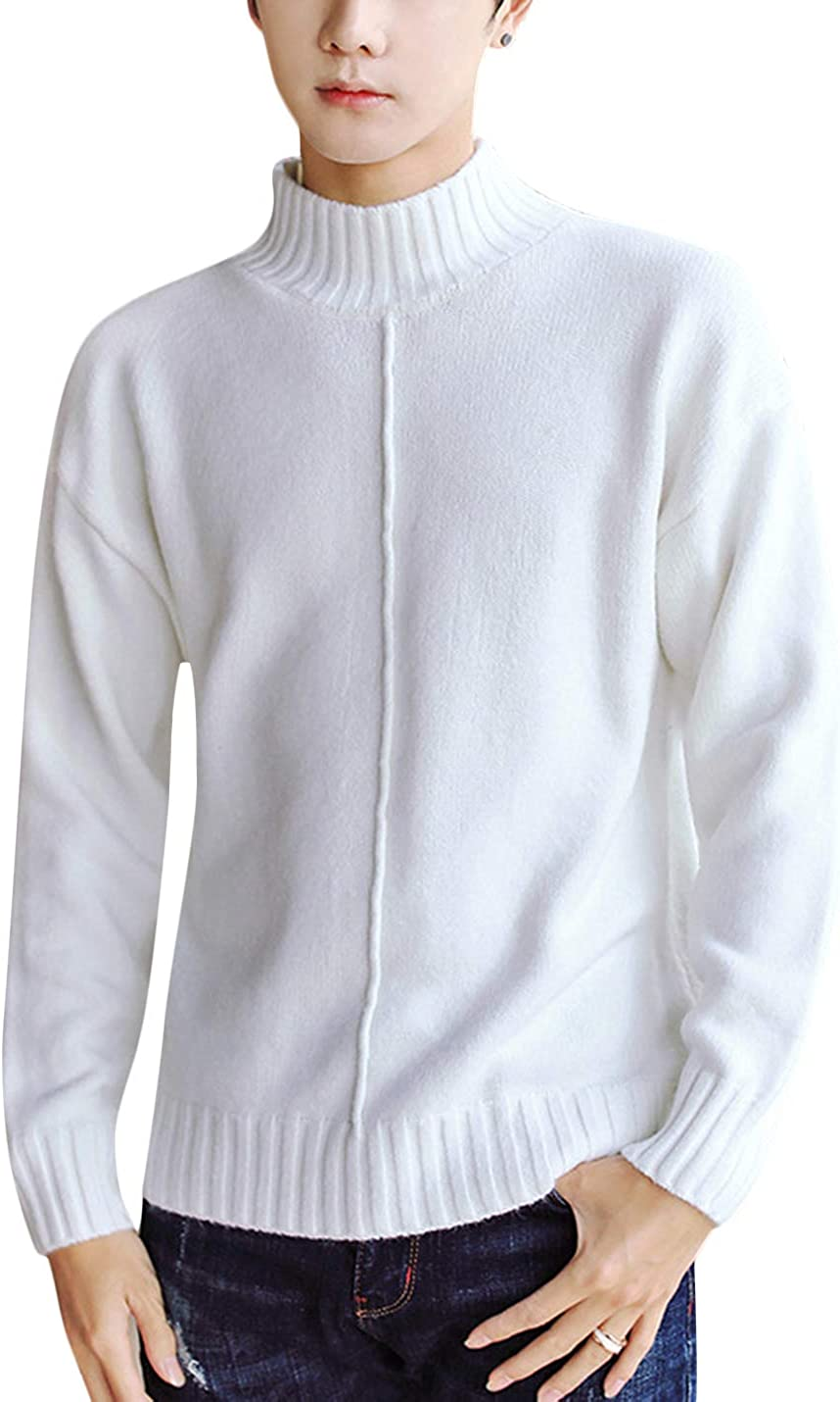 Springrain Men's Casual Turtleneck Knitted Sweatershirt Long Sleeves Pullover