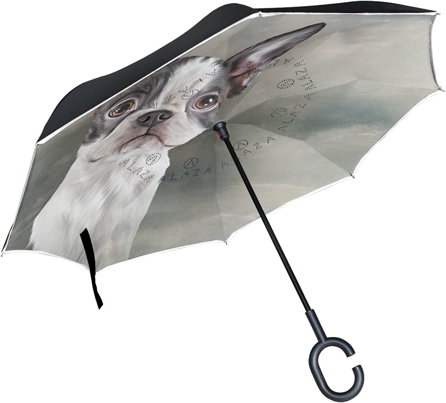 Mydaily Double Layer Ingreened Umbrella Cars Reverse Umbrella Boston Terrier Dog Vintage Windproof UV Proof Travel Outdoor Umbrella