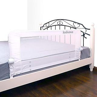 Kooldoo ベッドフェンス ベッドガード 折り畳み式 110cm ホワイト 安全ベルト1本付き ベビーやお年寄りがベッドからの転倒を防ぐ