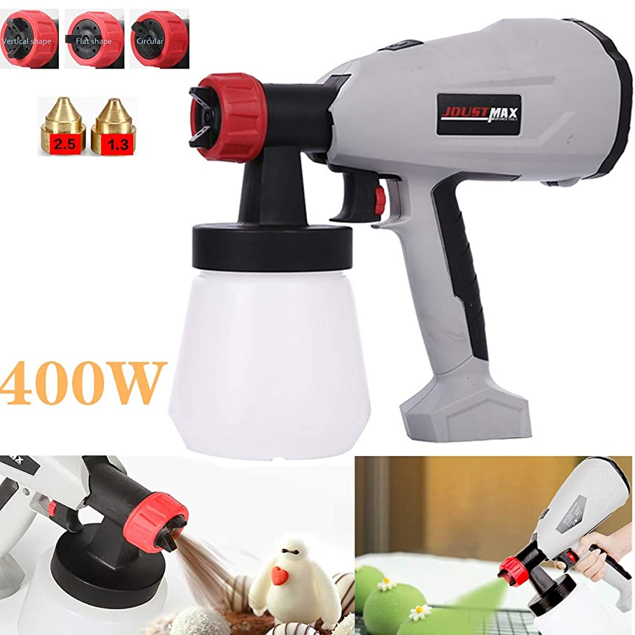 uhmhome Electric Paint Sprayer Gun 800ml/min with 800ml Detachable Container 2 Nozzle Sizes & 3 Spray Patterns Adjustable Valve Knob Ideal for Various Painting Projects (400W) f403530667