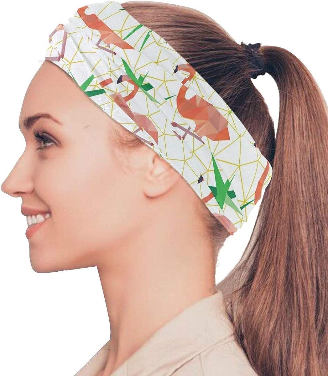 Bandana Face Scarf Neck Gaiter Polygonal Flamingos Headwear Headband for Cycling Fishing Hiking Camping