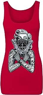 2 Gun Tattooed Marilyn Monroe Bandana Women's Tank Top Blonde Bombshell