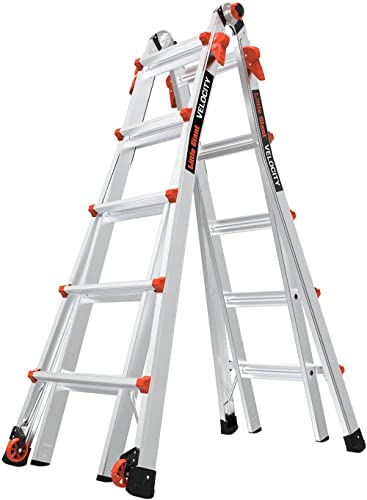 Little Giant Ladders, Velocity with Wheels, M22, 22 Ft, Multi-Position Ladder, Aluminum, Type 1A, 300 lbs Weight Rati...