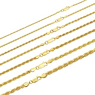 """Harlembling Solid 925 Sterling Silver - 14k Gold Plated - Rope Chain - 2mm 3mm 4mm 5mm 18-30"""" - Great Men's Or Ladies Necklace for Pendants - Italy Made"""