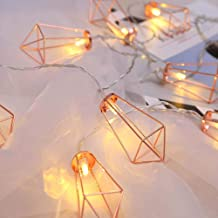 Twinkle Star 10 LED 6.6 ft Diamond String Lights Battery Operated, Geometric String Lights Warm White, Rose Gold Metal Lamps Decor for Indoor Wedding Party Bedroom Christmas