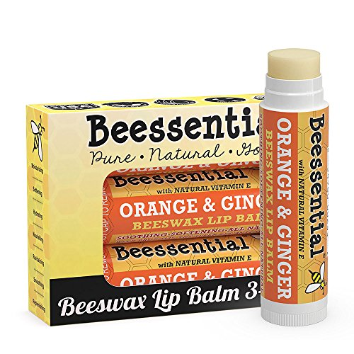 Beessential All Natural Orange Ginger Lip Balm 3 pack - Heals and Prevents Dry and Chapped Lips – Great for Men, Women, and Children – Moisturizing Beeswax, Coconut, Shea and Cupuacu Butter