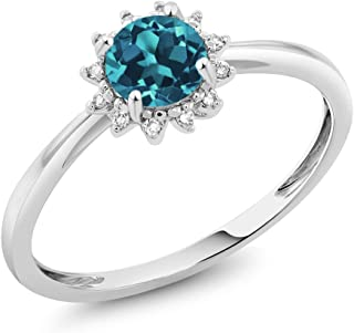 Gem Stone King 10K White Gold 0.50 Ct Round London Blue Topaz and Diamond Engagement Ring (Available 5,6,7,8,9)
