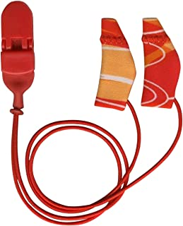 "Ear Gear Mini Hearing Aid Comfort, Protection & Security Clip – Fits Hearing Instruments 1"" to 1.25"" – Secure Your Aid or Amplifier – Protect from Sweat, Dirt, Moisture, Loss (Corded, Orange/Red)"