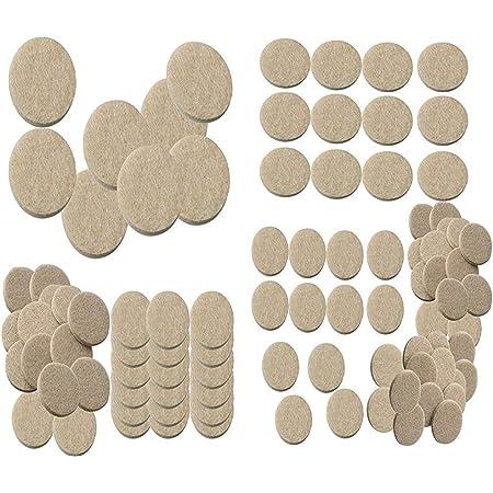 Nourish Self Sticking Round Felt Pads Non Skid Floor Protector Furniture Noise Insulation Pad (Cream, 1.5, 1, 0.75 Inch) -100 Pieces
