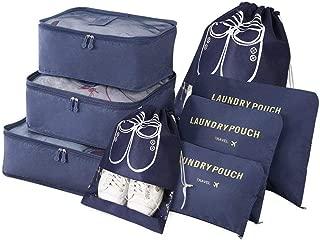 Organizador de equipaje, juego de organizador de viaje 8 en 1, bolsa organizadora de maleta impermeable que incluye 3 cubos de embalaje, 3 bolsas de compresión y 2 bolsas de zapatos (azul oscuro)