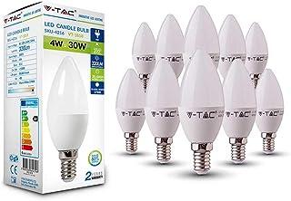 10er SET V-TAC E14 LED del bulbo de la lámpara de velas-form 2700 K blanco cálido 200° ángulo de haz de, blanco, E14, 4.00|wattsW, 230.00|voltsV