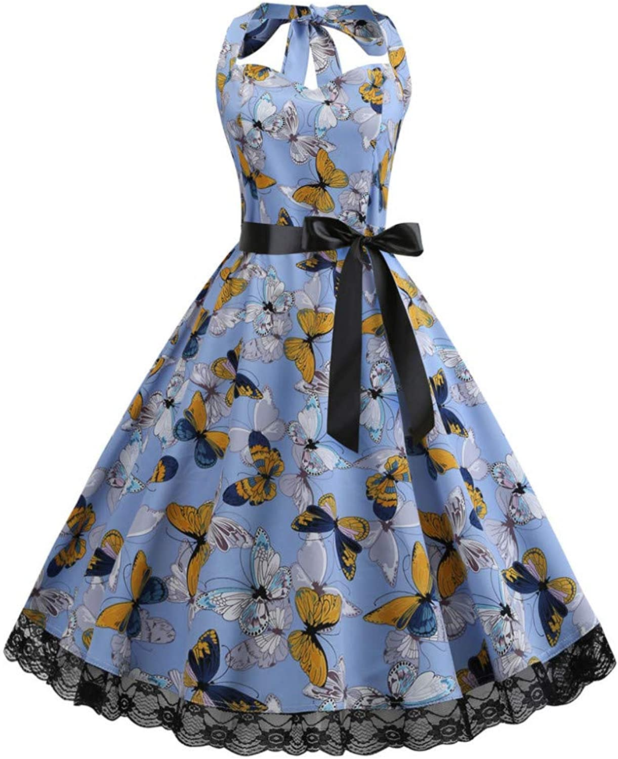 DRLYQWJF Women's Vintage Sleeveless Halter Print Lace Evening Party Prom Swing Dresses bluee Casual Pleated Dress