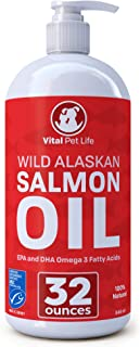 Salmon Oil for Dogs & Cats, Fish Oil Omega 3 EPA DHA Liquid Food Supplement for Pets, Wild Alaskan 100% All Natural, Suppo...