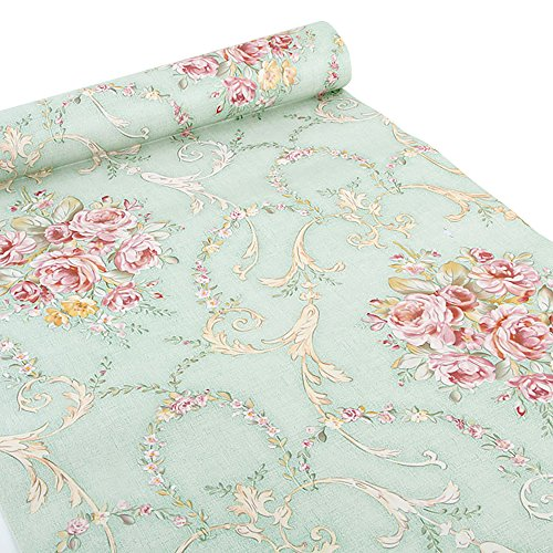 (Green-Rose) - Ya Jin Vintage Flower Shelf Liner Dresser Drawer Sticker Self-Adhesive Cabinet Desk Contact Paper Green-Rose