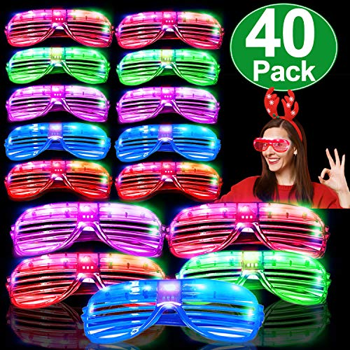 LED Glasses 40 Pack Light Up Glasses Glow in The Dark Party Supplies 6 Color LED Glow Glasses LED Sunglasses Costumes Neon Flashing Plastic Shutter Shades Neon Party Favors for Birthday Valentines Da