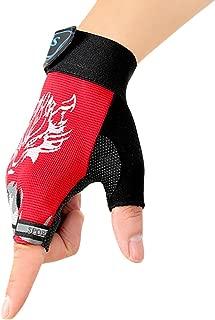 Kids Fingerless Cycling Gloves Riding Gloves Non-Slip Half Finger Bike Gloves Breathable Bicycle Gloves for Children Girls Boys Shock-absorbing Sports Gloves for Cycling Roller Skating Climbing
