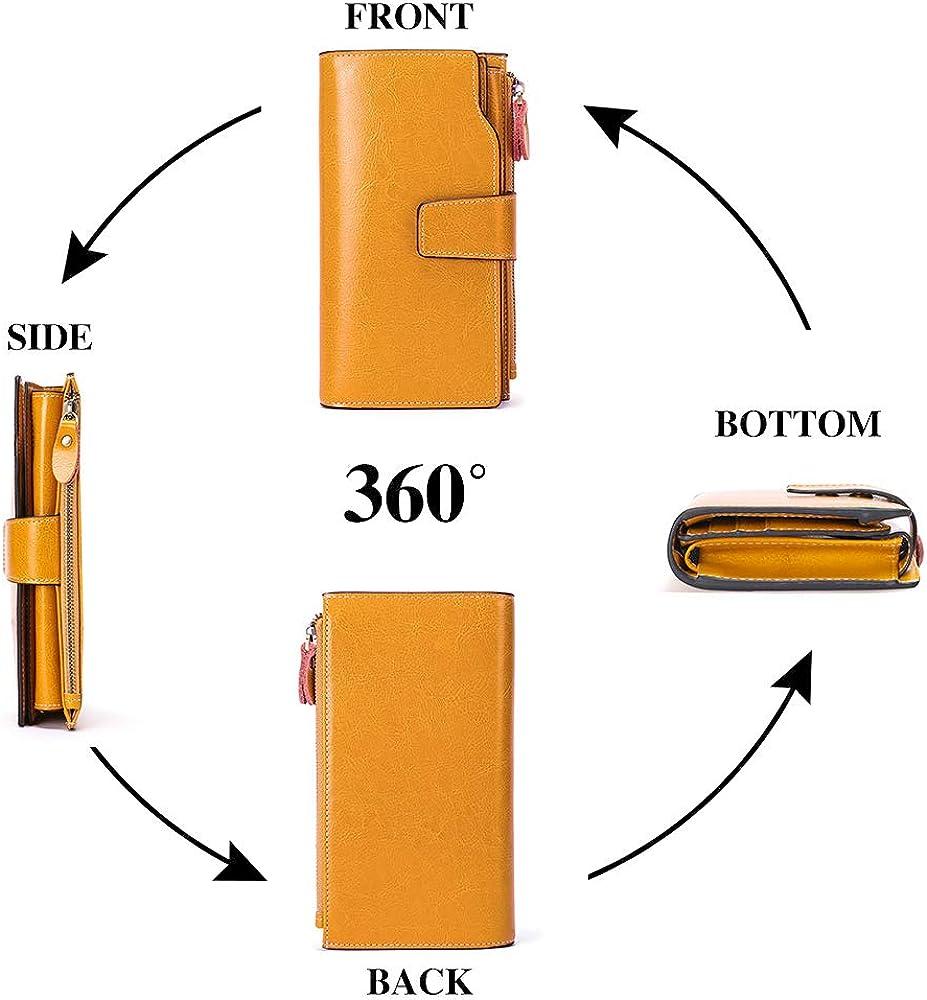 SENDEFN Women Leather Wallets RFID Blocking Clutch Card Holder Ladies Purse with Zipper Pocket
