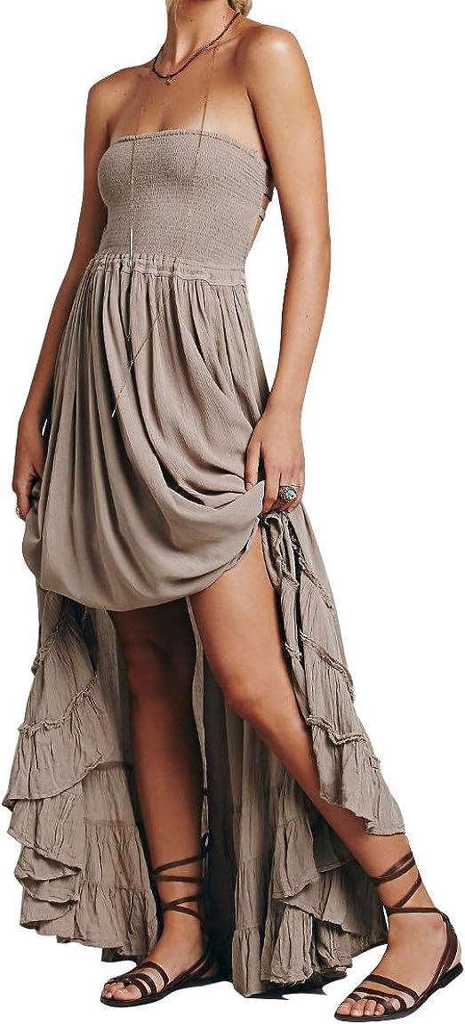 R.YIposha Women's Sleeveless Halter Beach Dresses Strappy Backless Bohemian Maxi Long Dress