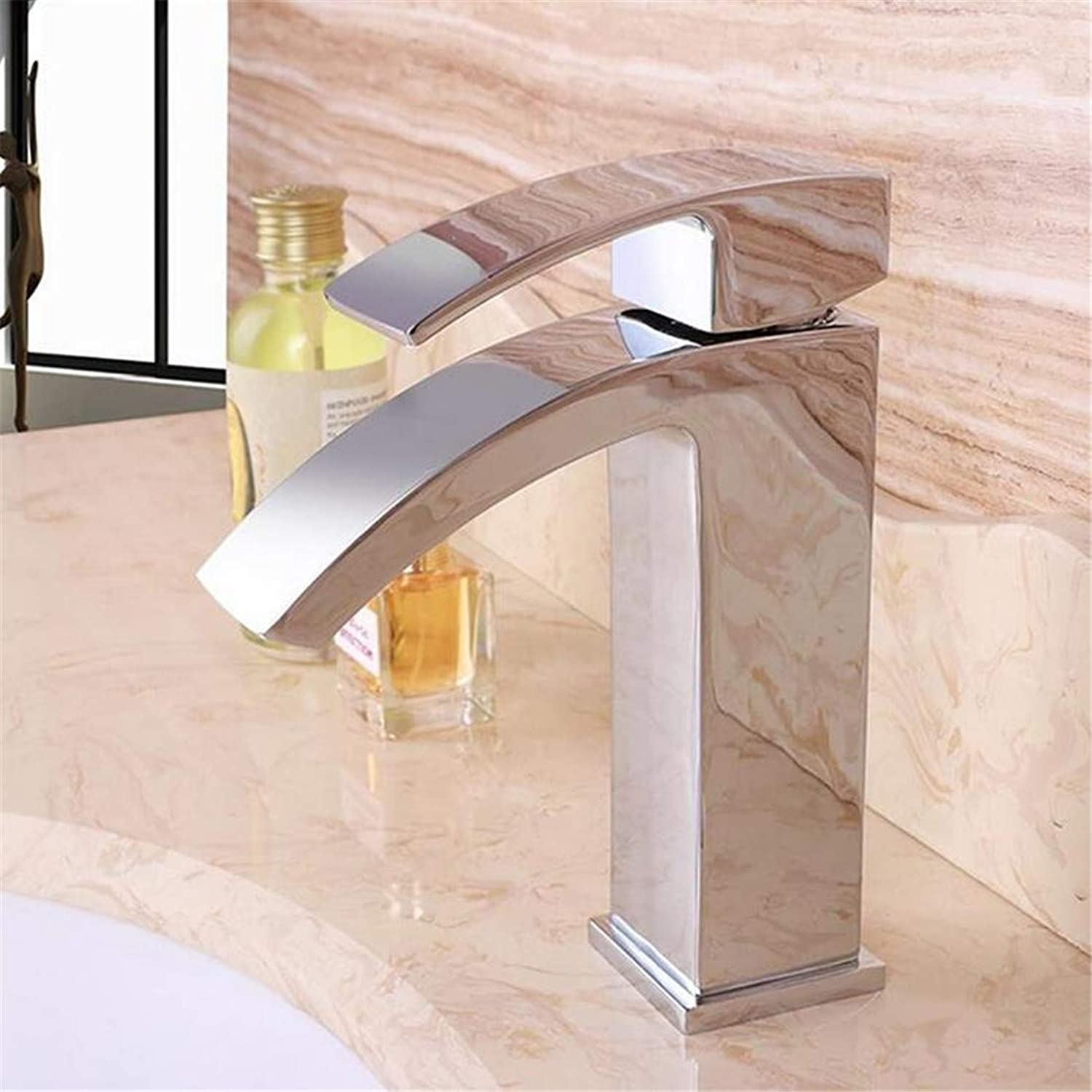 Faucet Vintage Plated Mixer Mixer Faucet Single Handle One Hole Basin Sink Mixer Tap Hot&Cold Kitchen Wash Waterfall Faucet Stainless Steel Chrom