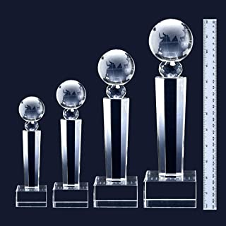 West East Imports Customize Laser Engrave Crystal Glass Globe Award Trophy with Engravable Base