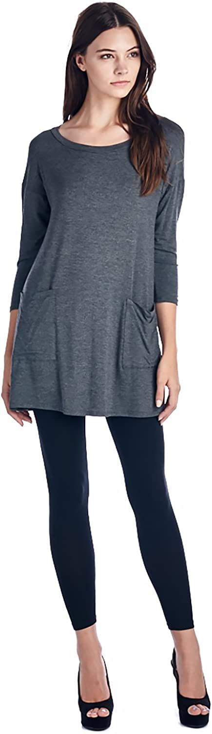 bluee May Women's Back Button Tunic Top