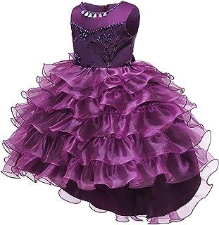 Zhhlaixing Flower Wedding Dress Girl Elegant Tulle Bow Belt Princess Dress Baby Girls Sleeveless Lace Tutu Dress for Birthday Party 2-14 Years