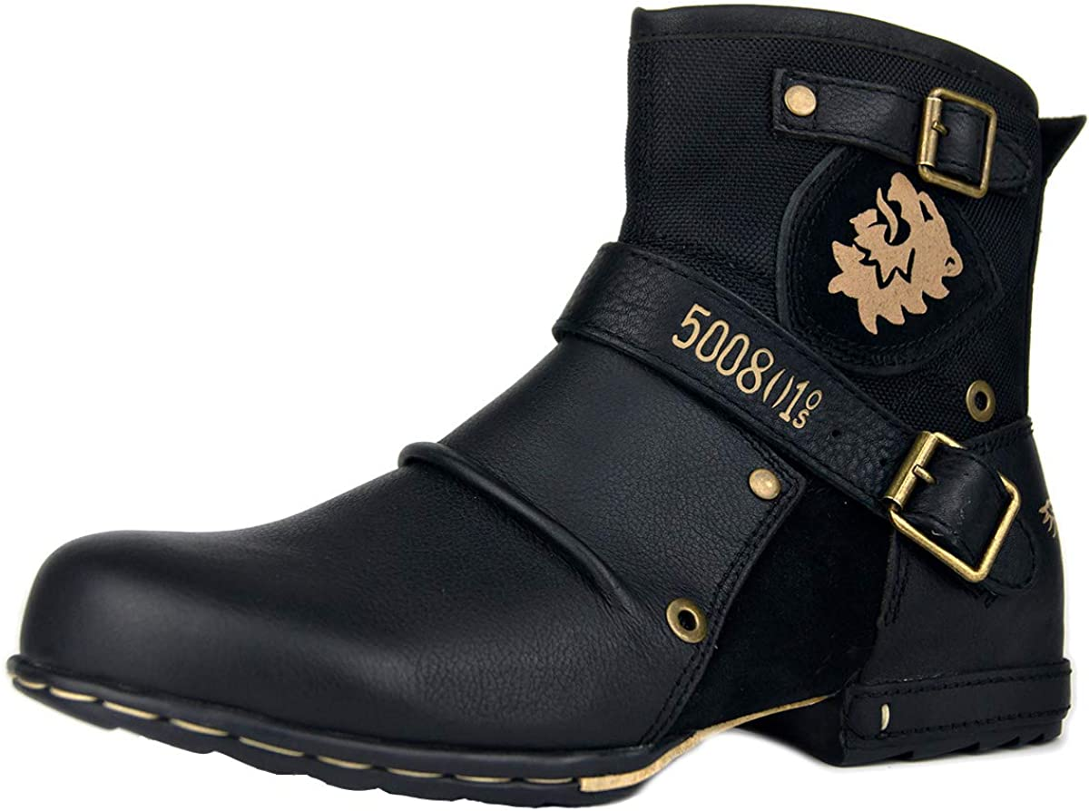 OSSTONE Moto Boots for Men Zipper-up Leather Chukka Ranking TOP11 store Boot Fashion