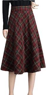 GAGA Women Thick Vintage High Waist A-line Woolen Plaid Skirt