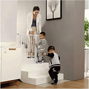 HONGNA Telescopic Child Safety Door Fence Baby Gates For Stairs Guardrail Free Punching Pet Isolation Fence  Color High76CM  Size 245-254cm