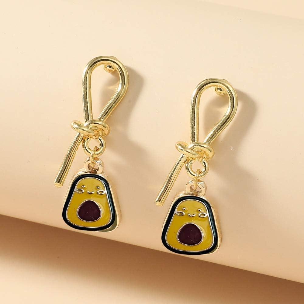 New Retro Green Earrings Personality Heart Pineapple Avocado Flower Dinosaur Alloy Studs Earrings Fashion Jewelry