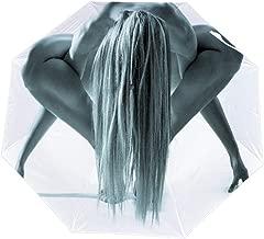 SARA NELL Folding Umbrella Studio Shot Of Beautiful Naked Woman In Gym Pose Auto Umbrella Open Close Windproof Umbrella Lightweight Compact Outdoor Umbrellas Sun & Rain