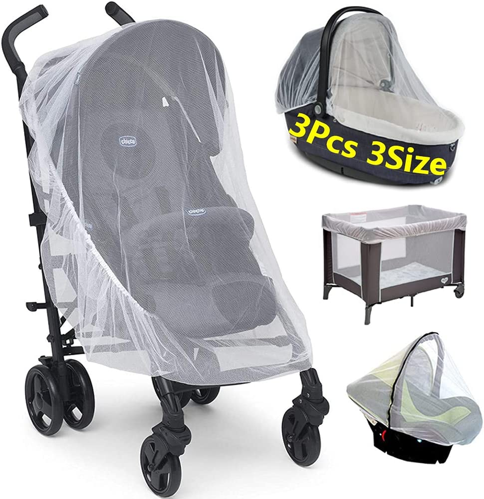 Baby Stroller Mosquito Net Cover - Adjustable Stroller Mosquito Net - Baby Mosquito Net for Stroller Car Seat Bassinets Crib(3 Pack)
