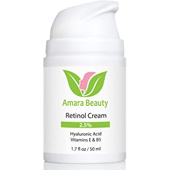 Retinol Cream for Face 2.5% with Hyaluronic Acid & Vitamins E & B5, 1.7 fl. oz.