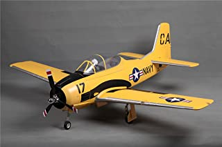 """FMS T-28D V4 Yellow 1400mm (55.1"""") Wingspan Trojan RC Airplane 6CH with Flaps LED Retracts Warbird PNP (No Radio, Battery, Charger)"""