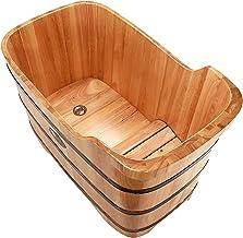 BUOODIUY Bañera de madera para adultos con cubierta Bañera SPA Hogar Durable Bañera de madera maciza Bañera Barril de baño Bañera de agua Bañera de agua para niños